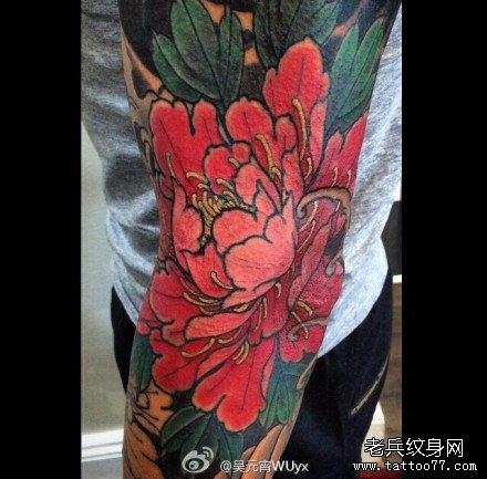 手臂红莲花纹身图案