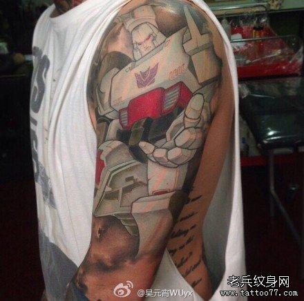 胳膊变形金刚卡通纹身图案