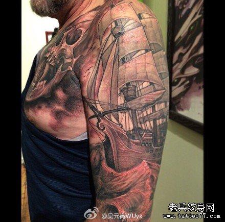 幽灵船骷髅纹身图案