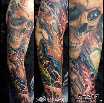 手臂海钟骷髅纹身图案