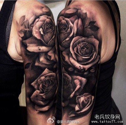 胳膊黑玫瑰纹身图案图片