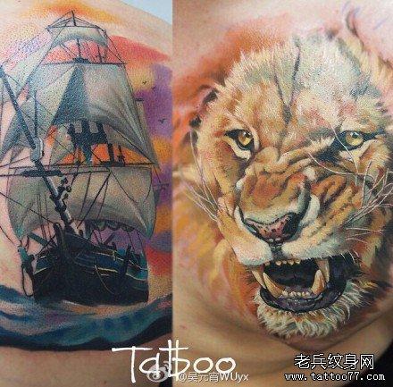 后背船狮子纹身图案图片