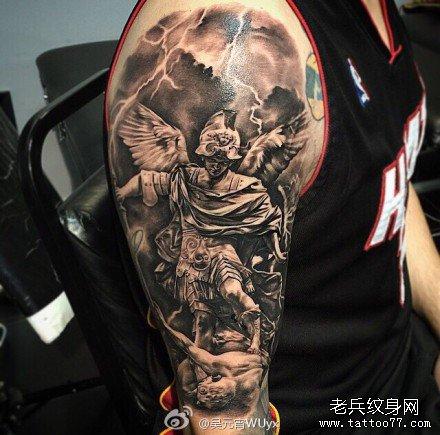 胳膊天使下凡纹身图案图片