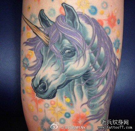 腿部独角兽天马纹身图案