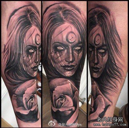 月亮女神肖像纹身图案图片