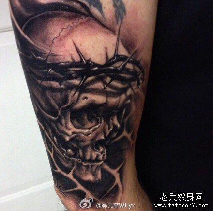 半臂骷髅花纹身分享展示