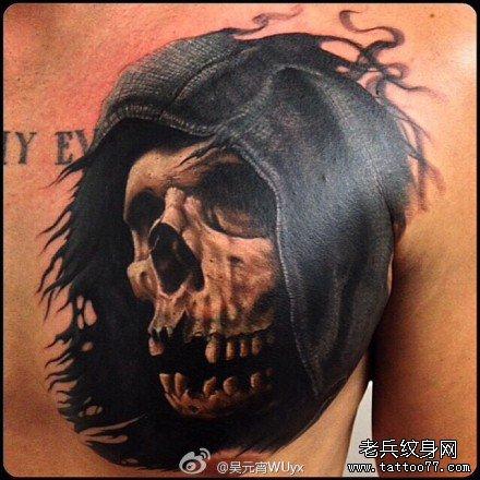 胸背死神骷髅纹身图案