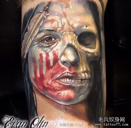 胳膊脸化成骷髅纹身图案