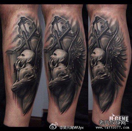 腿部吸血鬼十字纹身图案