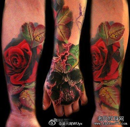 手部很漂亮玫瑰骷髅纹身图案
