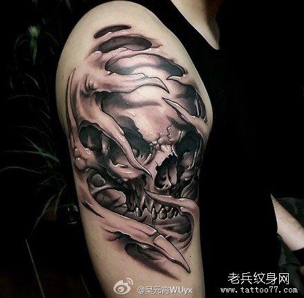 胳膊霸气骷髅纹身图案
