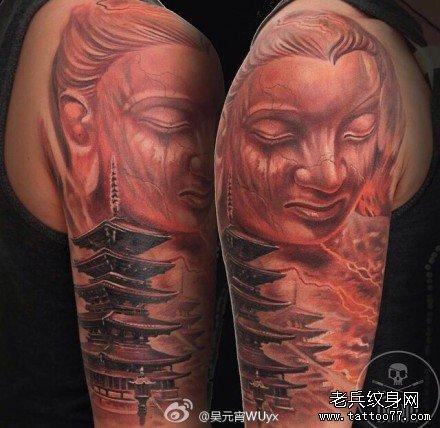 经典的腿部观音佛像纹身图案