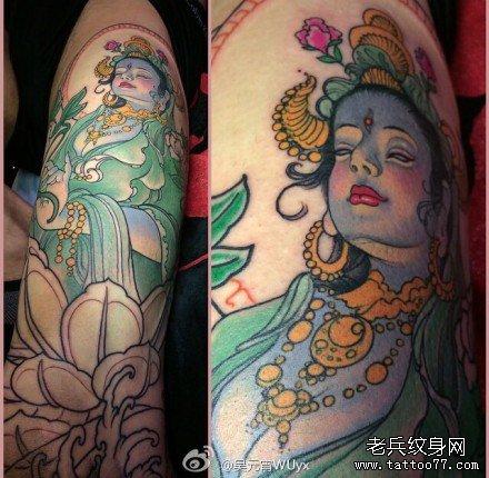 腿部女佛纹身图案