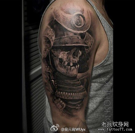 胳膊日本骷髅纹身图案