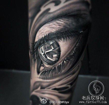 腿部漂亮的眼睛纹身图案