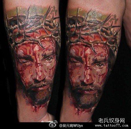 胳膊惨耶稣纹身图案图片
