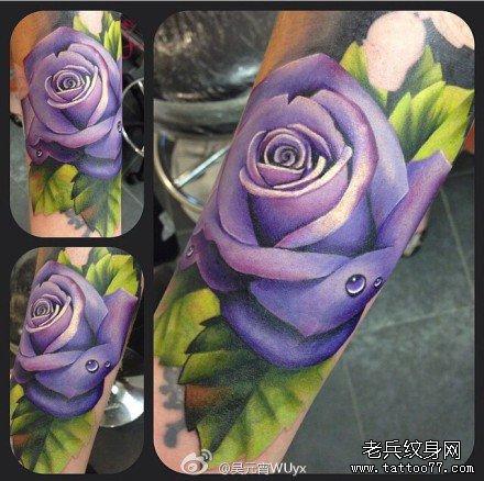 手部紫玫瑰纹身图案