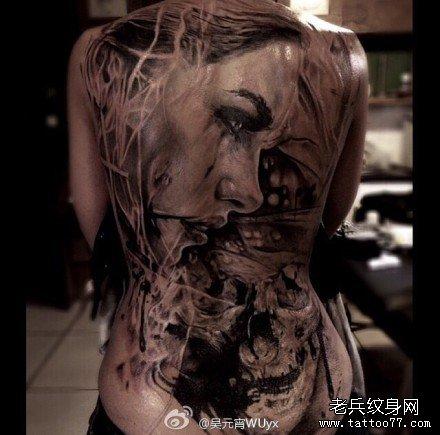 超酷帅气的满背二郎神纹身图案
