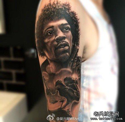 胳膊音乐黑人肖像纹身图案