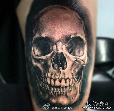 腿部钢骷髅纹身图案