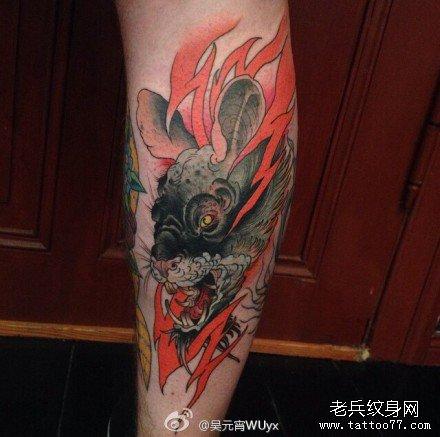 腿部火鼠妖纹身图案