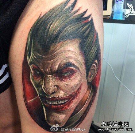 恶魔小丑肖像纹身图案