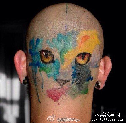头部花豹纹身图案