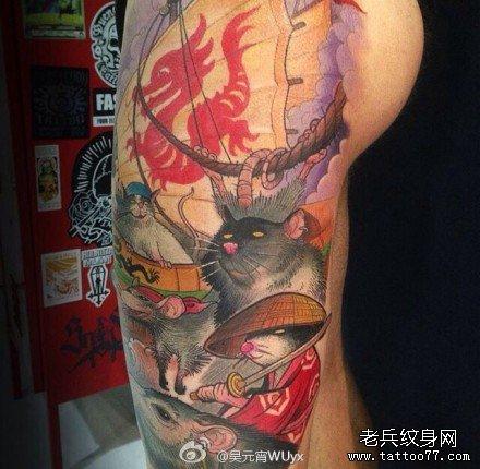 胳膊海盗老鼠纹身图案图片