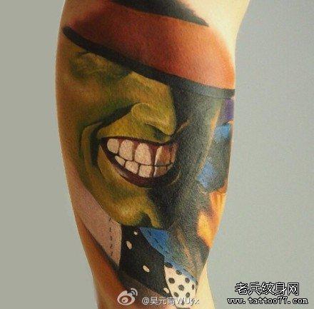 绿面具脸纹身图案