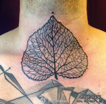 脖部叶图腾纹身图案图片
