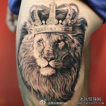 腿部狮子纹身图案