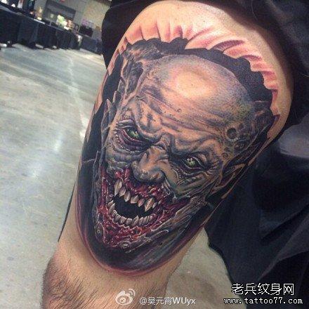 胳膊吸血鬼肖像纹身图案
