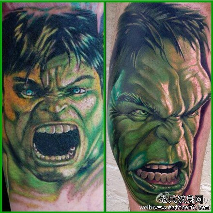 暴怒绿巨人肖像纹身图案