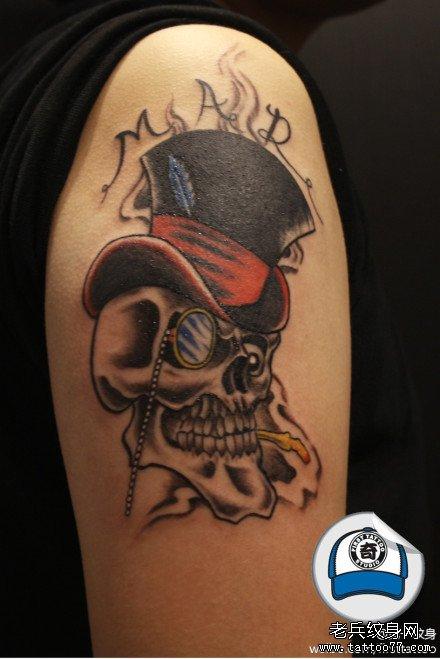 胳膊骷颅绅士纹身图案