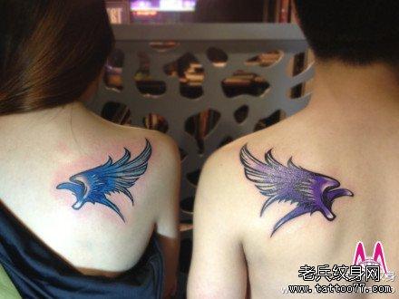 后背情侣翅膀纹身图案