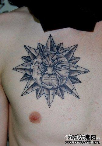 胸部怒太阳纹身图案