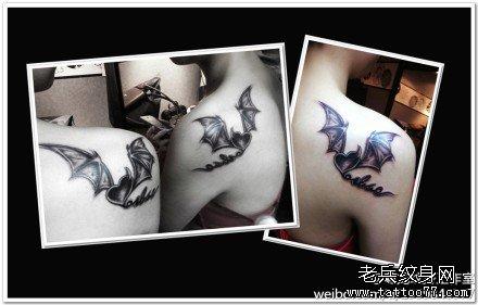 后背鹿花纹身图案