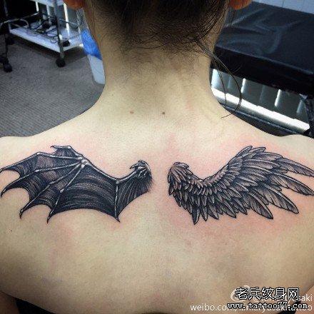 后背恶魔翅膀天使纹身图案