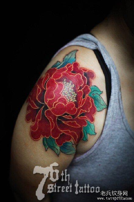 胳膊牡丹花纹身图案图片