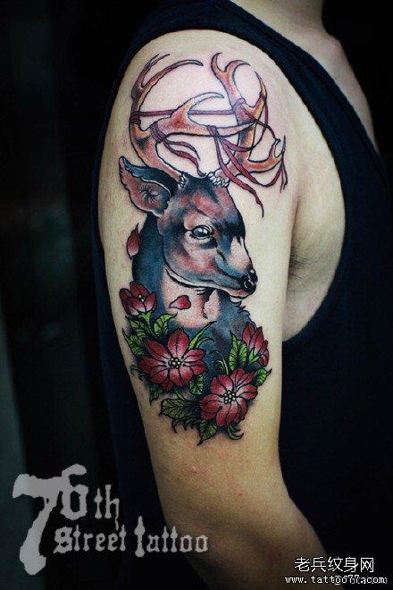 胳膊花鹿纹身图案