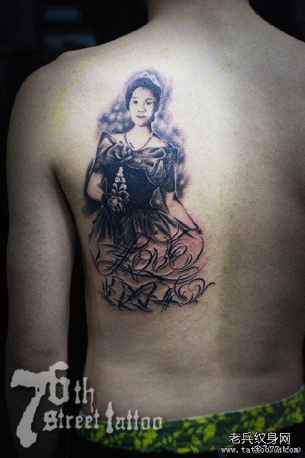 后背小孩纹身图案