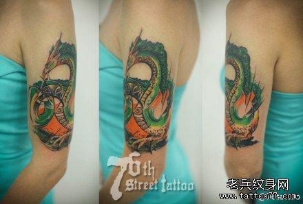 胳膊绿龙纹身图案