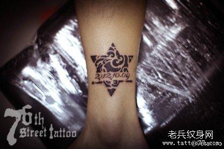 经典梵花梅花鹿纹身图案