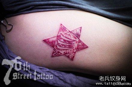 腿部六角星纹身图案图片