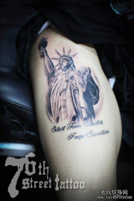 胳膊自由女神纹身图案
