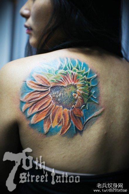 后背向日花纹身图案