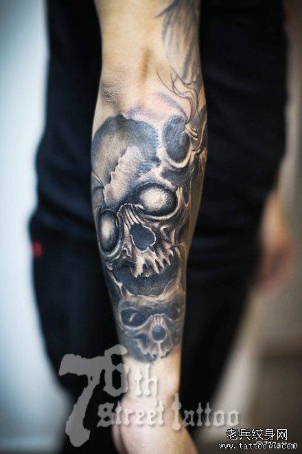 青色手臂半甲纹身手稿图片
