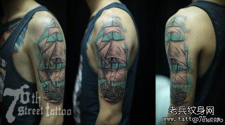 胳膊船纹身图案图片
