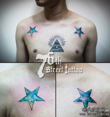 三角形二星纹身图案