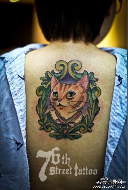 后背猫纹身图案